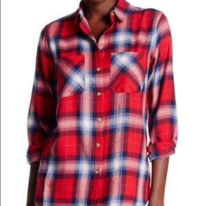 Topshop red and blue Billie flannel